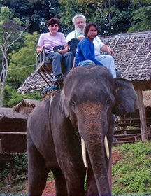 B & C on Elephant in Thailand1A
